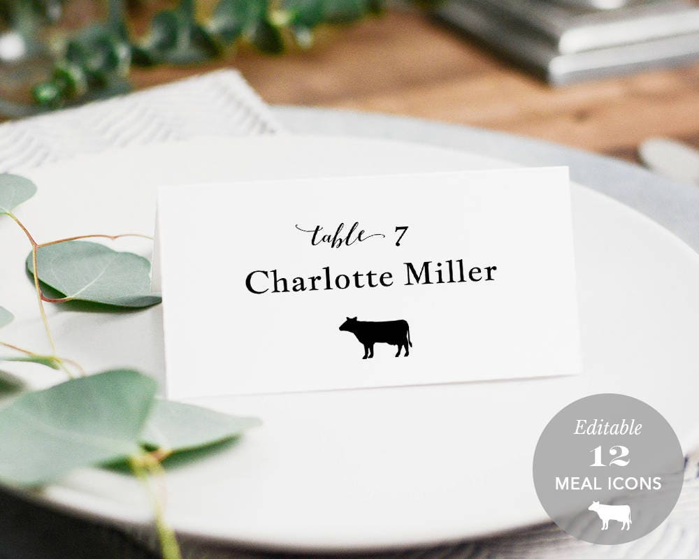 Wedding Place Card Printable Place Card Template Meal Choice | Etsy