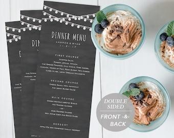 Wedding Menu Template, Printable Menu, Wedding Dinner Menu, DIY Menu Card, Instant Download, Editable PDF, Edison Light, Chalkboard, Rustic