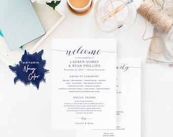 Navy Wedding Program Template, Printable Wedding Program, Ceremony Printable Template, Instant Download Templett Modern #SPP008pr57