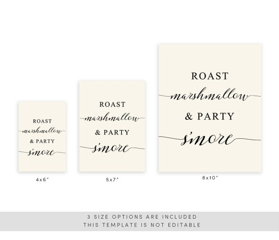 photograph regarding Printable Marshmallow Template titled Roast Mashmallow Social gathering Smore Indication Template, Printable Marriage Indication, Innovative Wedding day, Calligraphy, TEMPLETT PDF Jpeg Obtain #SPP007smo