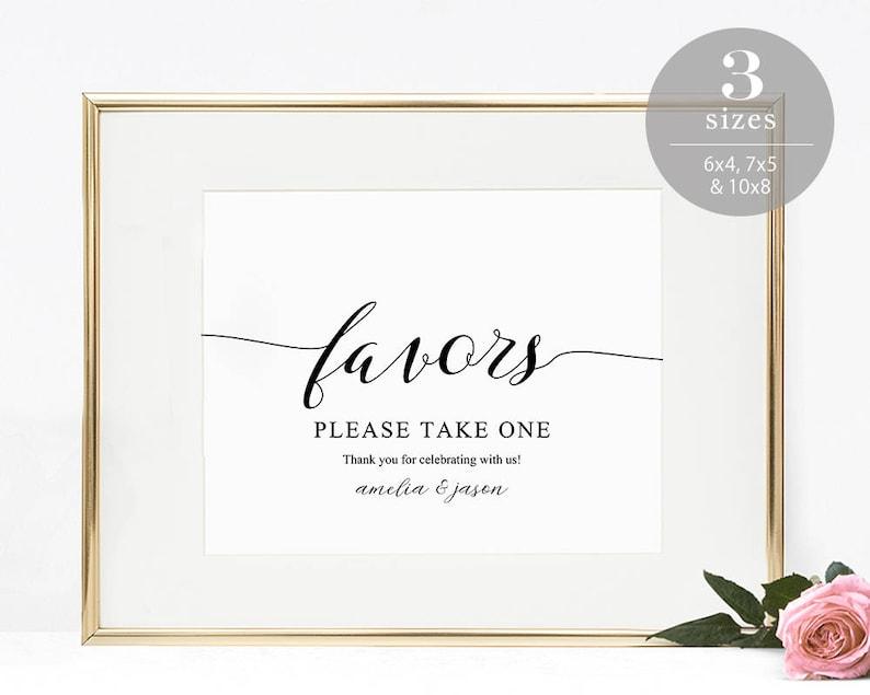 Wedding Favor Sign Template Favors Sign Wedding Favor image 0