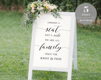 Choose a Seat not a Side Sign Template, Printable Choose a Seat Sign, Welcome Wedding Sign, TEMPLETT, PDF Jpeg Download #SPP007css
