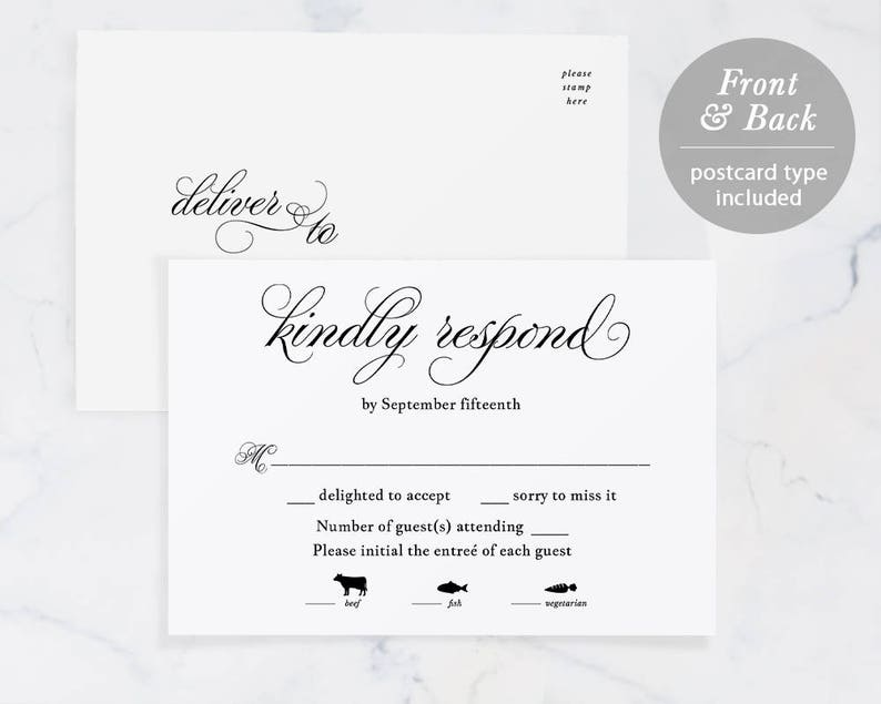 graphic regarding Printable Rsvp Cards named Rsvp Card Template, Printable Marriage RSVP, RSVP Postcard, Answer Card, pdf Jpeg Down load, TEMPLETT, Progressive Calligraphy, #SPP014rs