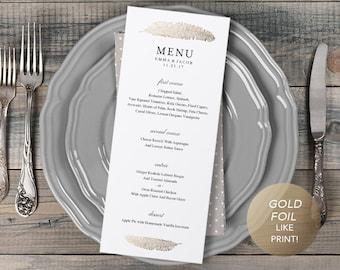 Wedding Menu Template, Printable Menu, Wedding Dinner Menu, DIY Menu Card, Instant Download, Editable PDF, Faux Gold Foil Feather Modern