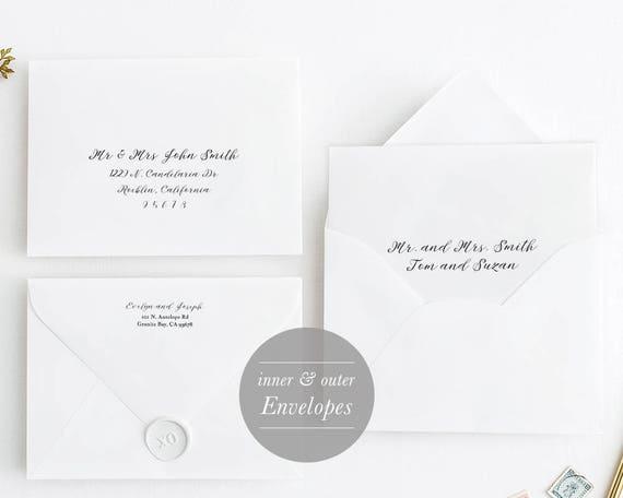 outer inner envelope template envelope printable etsy