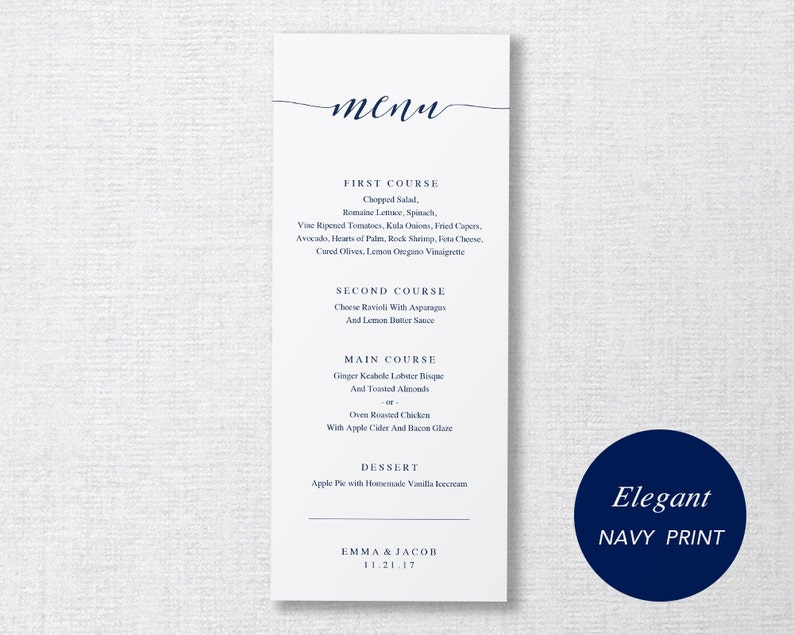 Wedding Menu Template Printable Menu Wedding Dinner Menu image 0