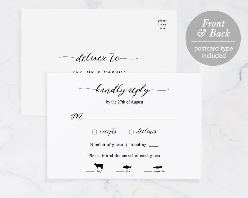 image regarding Printable Rsvp Card titled Rsvp Card Template, Printable Wedding ceremony RSVP, RSVP Postcard, Answer Card, TEMPLETT, pdf, Jpeg, Innovative Calligraphy #SPP007rs