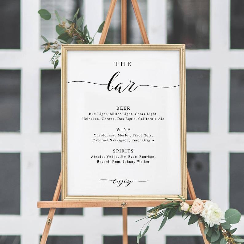 The Bar Sign Bar Menu Sign Wedding Bar Sign Wedding Sign image 1