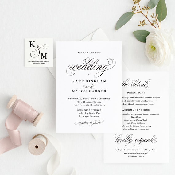 photograph relating to Printable Wedding Card known as Printable Marriage Invitation Template, Marriage Invitation Entrance Again, All in just 1 Wedding ceremony Invite, TEMPLETT, Innovative Calligraphy #SPP014wi1