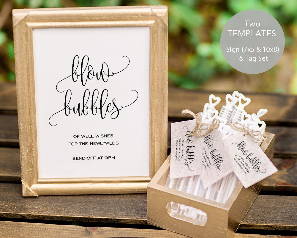 Bubble Send Off Sign PDF Template Bubble Sign Tags Blow