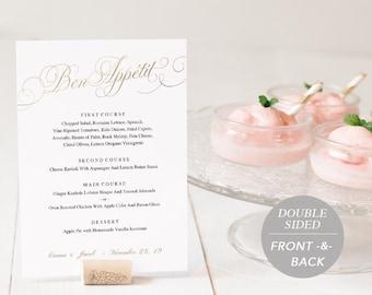 Wedding Menu Template, Printable Menu, Wedding Dinner Menu, DIY Menu Card, Instant Download, Editable PDF, Faux Gold Foil, SPP018-mn57