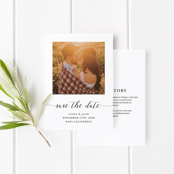 Printable Save The Date Template Save The Date Invitation Diy Wedding Engagement Invite Card Templett Pdf Jpeg Wedding Photo Spp007sdp