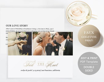 Printable Wedding Announcement Template, Elopement Announcement DIY Tied The Knot Marriage Card PDF Download Photo card Faux Gold #SPP018wep