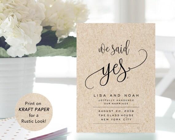 Wedding Announcement Template | Printable Wedding Announcement Template Elopement Etsy