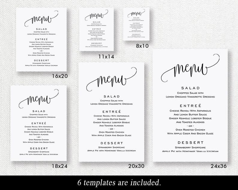 DIY Wedding Menu Poster TEMPLETT PDF Jpeg Downlaod #SPP013ms Wedding Sign Printable Wedding Menu Board Wedding Menu Sign Template