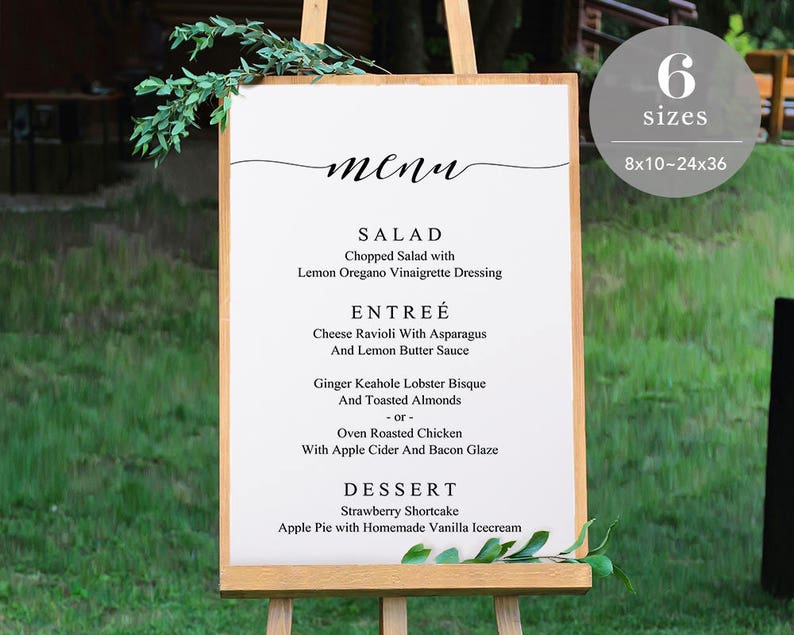 Wedding Menu Sign Template Printable Wedding Menu Board