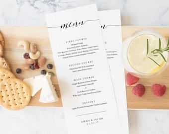Wedding Menu Template, Printable Menu, Wedding Dinner Menu, DIY Menu Card, Instant Download, Editable PDF, Rustic Calligrahpy
