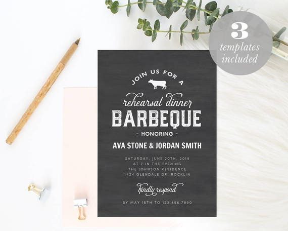 Printable Barbeque Rehearsal Dinner Invitation Template