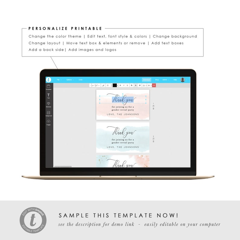 Printable Thank You Gift Tag Template Personalized Favor Tag Baby Shower TEMPLETT PDF Jpeg Download #SPP064tt Gender Reveal