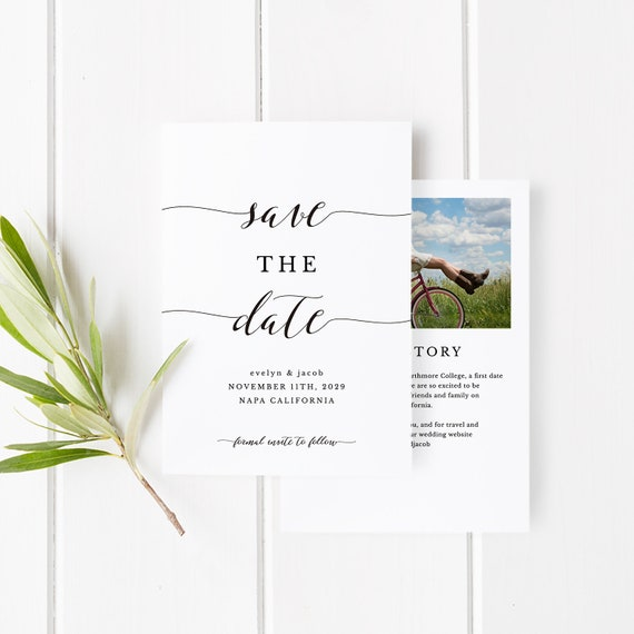 Printable Save The Date Template Save The Date Invitation Diy Wedding Engagement Invite Card Templett Pdf Jpeg Calligraphy Spp007sd