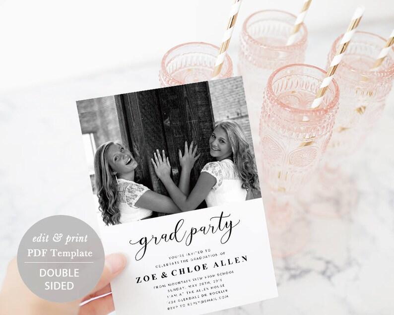 TEMPLETT Printable Graduate Photo Card Graduation Party Invitation Card Template Instant Download #SPP329ga Grad Party Invitation