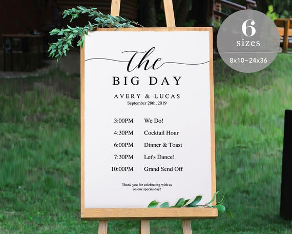 wedding timeline sign template wedding program sign etsy
