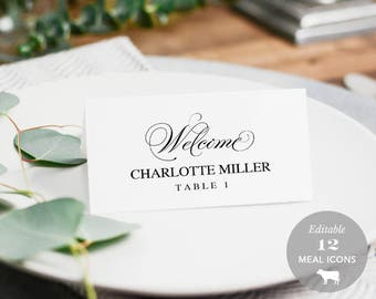 Wedding Place Card Printable, Place Card Template, Meal Choice Selection, Table Number Name Card Seating Card Instant Download PDF #SPP014pc