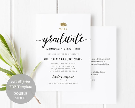 Graduation Party Invitation Card Template Printable Graduate Celebration Card Grad Party Invitation Templett Instant Download Spp331ga
