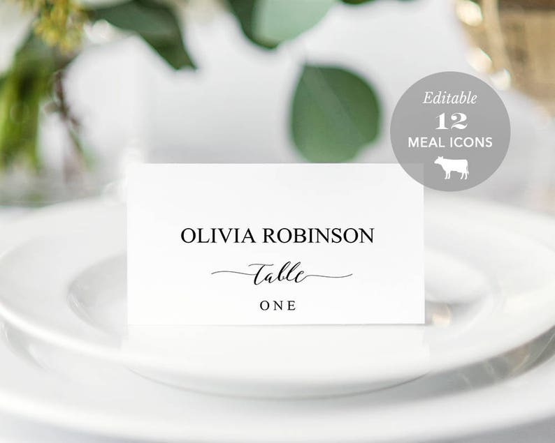 Wedding Place Card Printable Place Card Template Meal Choice image 0