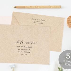 Classic Calligraphy Envelope Template \u2022 Envelope Address Template \u2022 A7 and A1 \u2022 Wedding Envelope Printable \u2022 Templett Envelope \u2022 Wedding