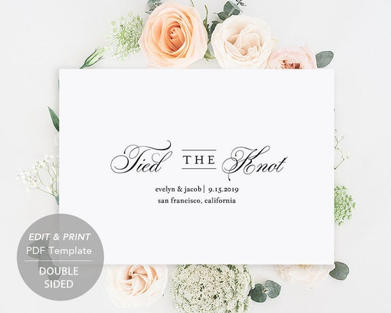 printable wedding announcement template elopement etsy