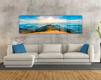 Stunning Mountain Sunset HD Metal Print, Ready to Hang. Perfect for Livingrooms or your Office!