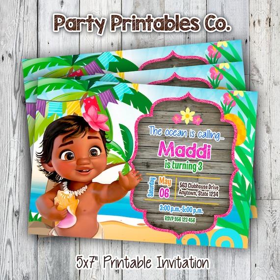 Invitación Imprimible Moana Moana Bebé Invitación De Cumpleaños