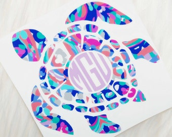 Sea Turtle Monogram Personalized Vinyl Decal - Lilly Pulitzer Inspired