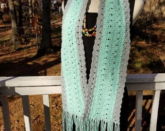 Mint and Gray Cotton Scarf