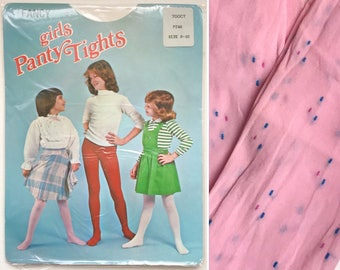 Girls tights stockings socks, pink patterned tighty, new in packaging 1960s 1970s, approx age 7 8 9 years childrens vintage kids
