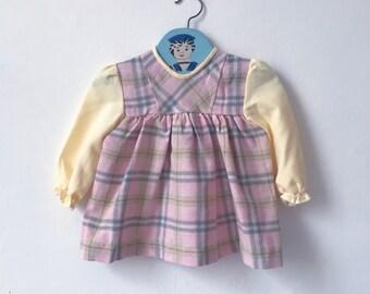 5478a32e3927a Pink tartan, age 6-9 months new vintage baby dress