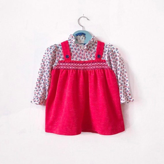 bd253e464909 Vintage Mothercare baby girls dress in coral age 9 12