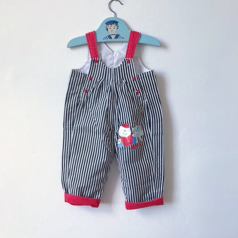 5434a41e1070 Age 1 vintage Mothercare quilted dungarees black white