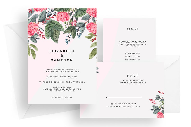Printed floral pink wedding invitation suite flower wedding image 0