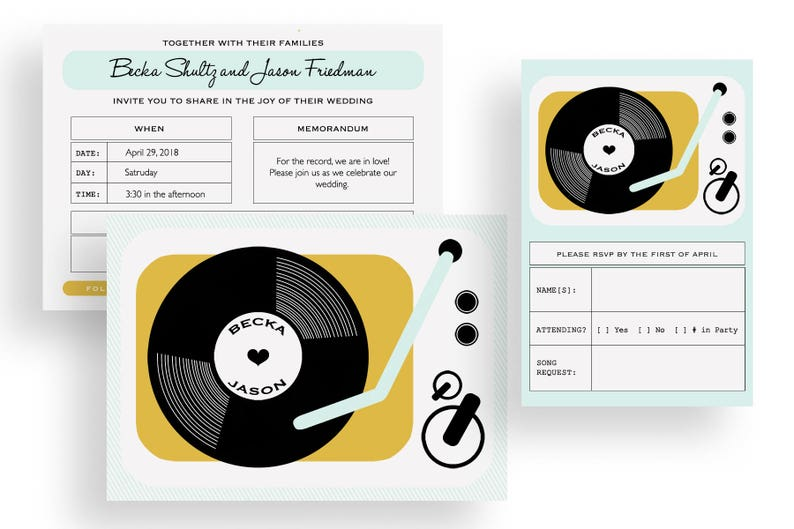 RESERVED for HEATHER  Printable record player wedding image 0