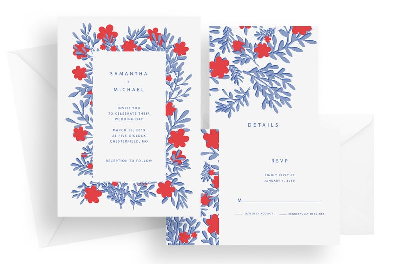 Printed floral wedding invitation suite blue and red wedding image 0