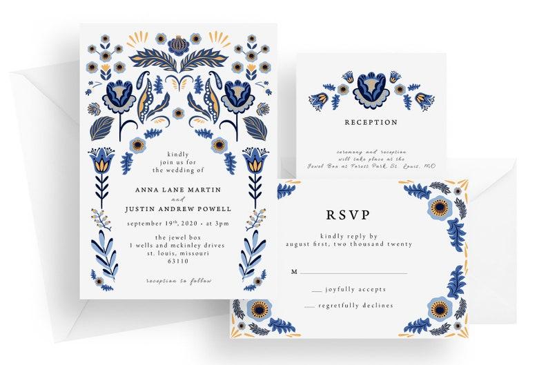Printed folk flower wedding invitations blue and yellow image 0