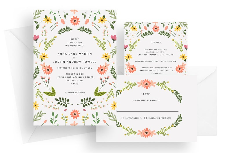 Printed pink and yellow floral wedding invitations coral image 0