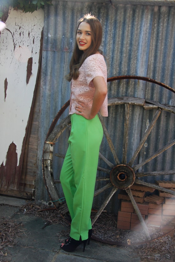 70's lime green pants, front zip