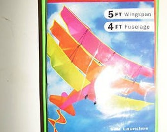 Vintage Kite Tri-Plane NRFB Mint Condition 5-Feet Tall Bright Colors High Quality by The Kite Factory