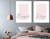 Dance All Night, Sleep All Day | Set of 2 Prints | Bedroom Decor | Housewarming | Home Decor | BedroomWall Art | Above Bed Print | Girl Room