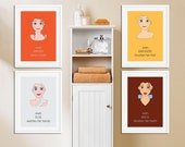 Disney Princess | Set of 4 Prints | Girls Bathroom Decor | Bathroom Wall Decor for Girls | Bathroom Rules | Girl Wall Decor | Princess Quote