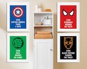 Superheroes Bathroom Set of 4 Posters | Avengers | Marvel | Superhero Sign | DC Comics | Home Decor | Kids Room | bathroom Wall Decor Kids