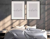 Inhale, Exale Print | Set Of 2 Prints | Gallery Wall Set | Home Decor | Quote Prints | Bedroom Decor | Above Bed Decor | Scandinavian Poster